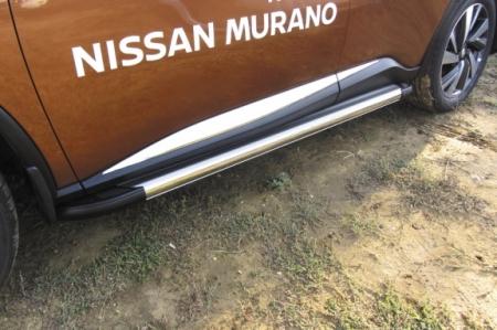 "Nissan MURANO 2016- Пороги алюминиевые ""Luxe Silver"" 1800 серебристые"